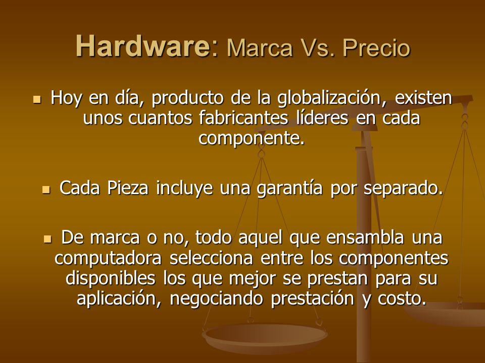Hardware: Marca Vs. Precio Hoy en día, producto de la globalización, existen unos cuantos fabricantes líderes en cada componente. Hoy en día, producto