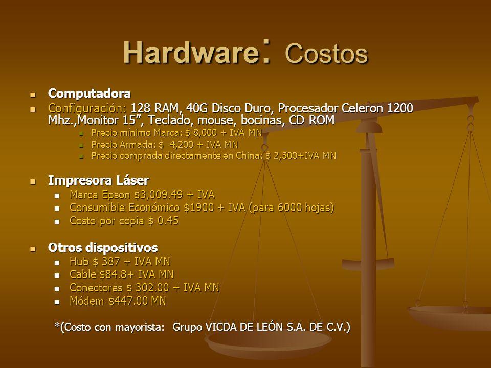 Hardware : Costos Computadora Computadora Configuración: 128 RAM, 40G Disco Duro, Procesador Celeron 1200 Mhz.,Monitor 15, Teclado, mouse, bocinas, CD ROM Configuración: 128 RAM, 40G Disco Duro, Procesador Celeron 1200 Mhz.,Monitor 15, Teclado, mouse, bocinas, CD ROM Precio mínimo Marca: $ 8,000 + IVA MN Precio mínimo Marca: $ 8,000 + IVA MN Precio Armada: $ 4,200 + IVA MN Precio Armada: $ 4,200 + IVA MN Precio comprada directamente en China: $ 2,500+IVA MN Precio comprada directamente en China: $ 2,500+IVA MN Impresora Láser Impresora Láser Marca Epson $3,009.49 + IVA Marca Epson $3,009.49 + IVA Consumible Económico $1900 + IVA (para 6000 hojas) Consumible Económico $1900 + IVA (para 6000 hojas) Costo por copia $ 0.45 Costo por copia $ 0.45 Otros dispositivos Otros dispositivos Hub $ 387 + IVA MN Hub $ 387 + IVA MN Cable $84.8+ IVA MN Cable $84.8+ IVA MN Conectores $ 302.00 + IVA MN Conectores $ 302.00 + IVA MN Módem $447.00 MN Módem $447.00 MN *(Costo con mayorista: Grupo VICDA DE LEÓN S.A.