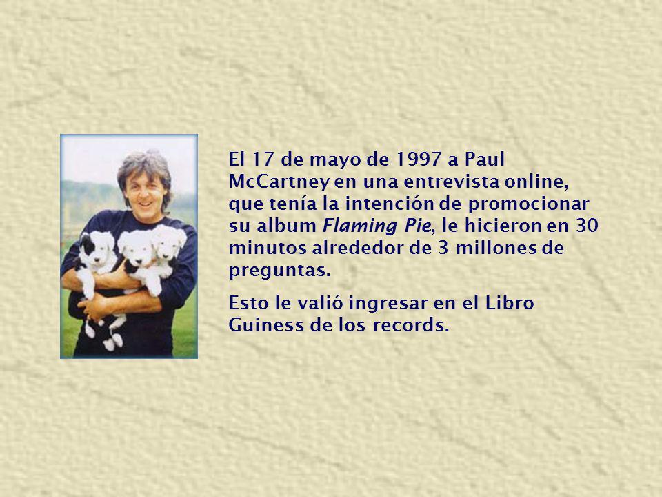 El 17 de mayo de 1997 a Paul McCartney en una entrevista online, que tenía la intención de promocionar su album Flaming Pie, le hicieron en 30 minutos