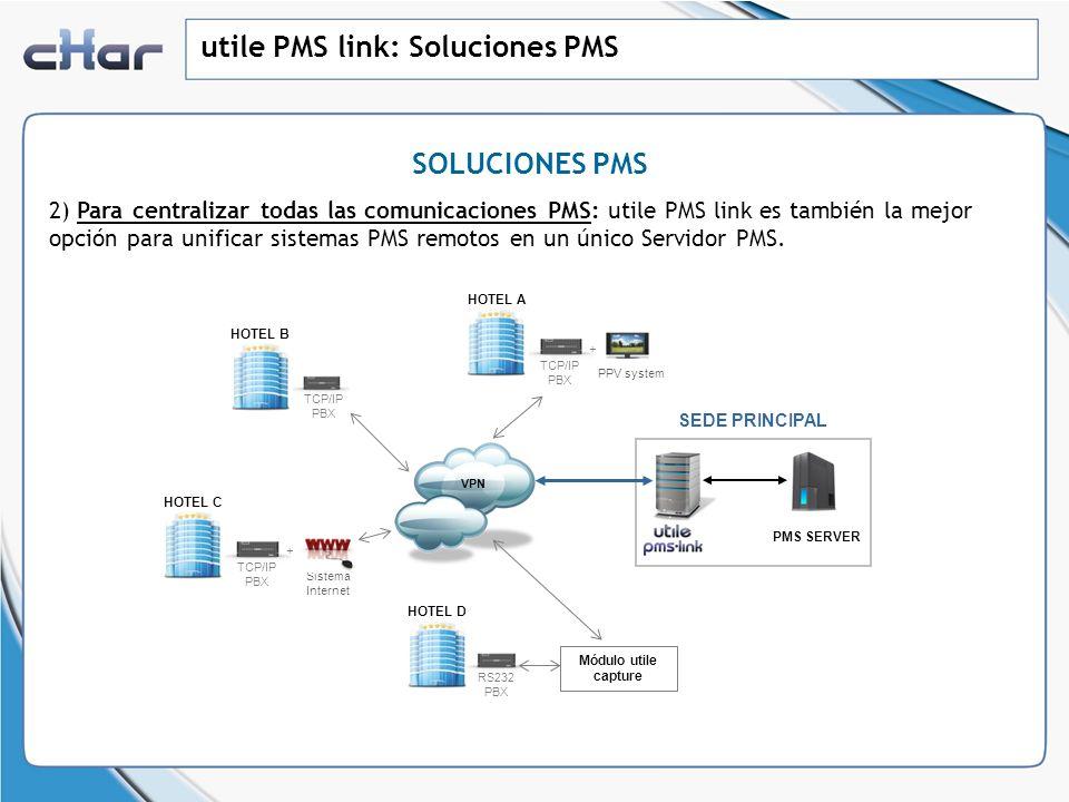 utile PMS link: Soluciones PMS SOLUCIONES PMS 2) Para centralizar todas las comunicaciones PMS: utile PMS link es también la mejor opción para unifica