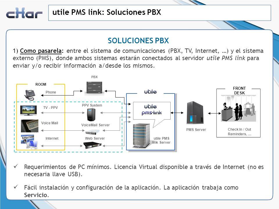 utile PMS link: Soluciones PBX SOLUCIONES PBX 1) Como pasarela: entre el sistema de comunicaciones (PBX, TV, Internet, …) y el sistema externo (PMS),