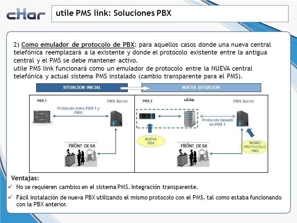 utile PMS link: Soluciones PBX 3) Como buffer y conversor de señal: utile PMS link puede ser utilizado también como un conversor de señal, almacenando en buffer la información enviada por la PBX.