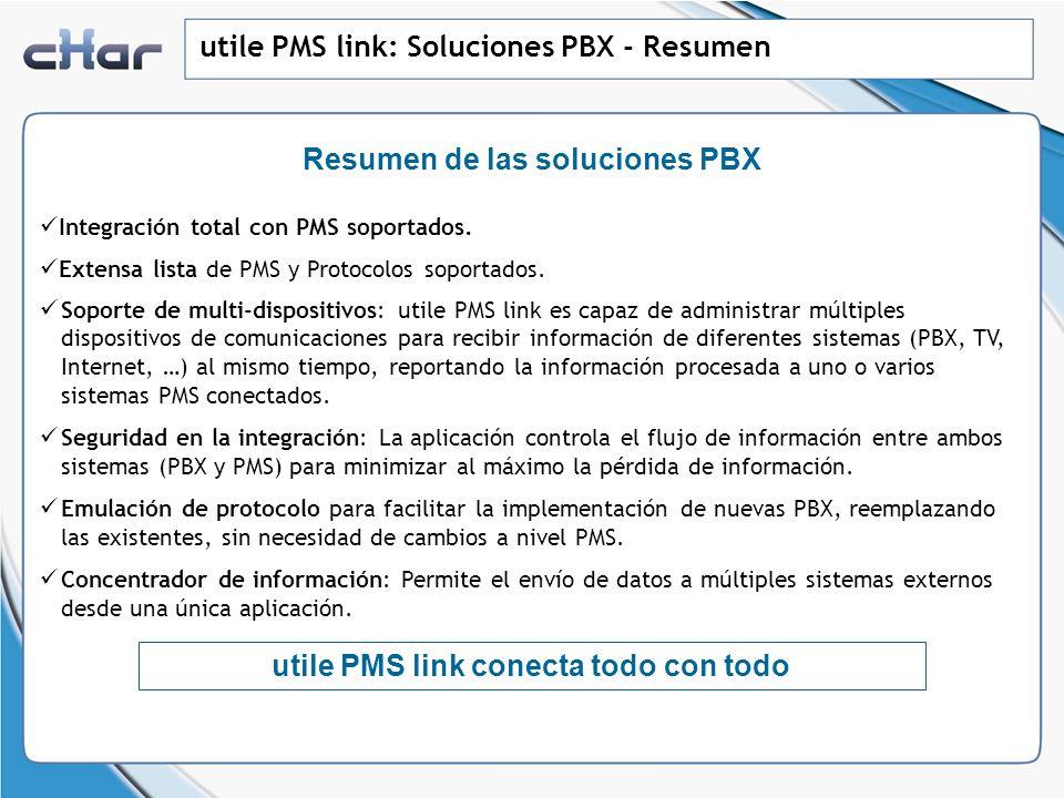 utile PMS link: Soluciones PBX - Resumen Integración total con PMS soportados. Extensa lista de PMS y Protocolos soportados. Soporte de multi-disposit