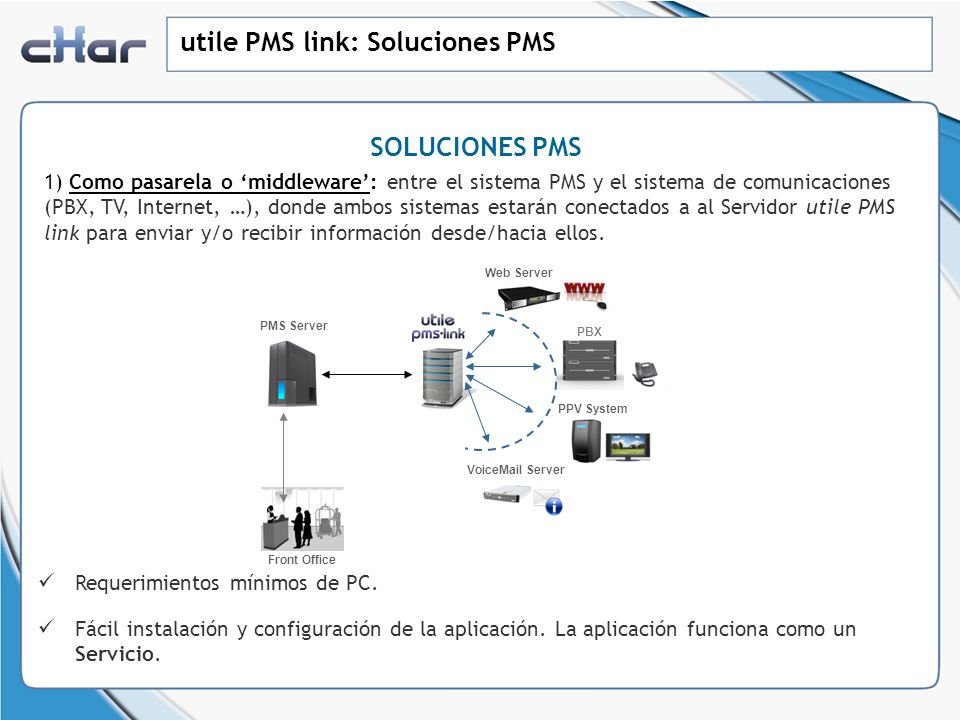 utile PMS link: Soluciones PMS SOLUCIONES PMS 1) Como pasarela o middleware: entre el sistema PMS y el sistema de comunicaciones (PBX, TV, Internet, …