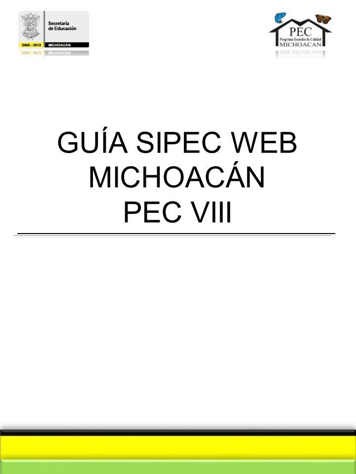 GUÍA SIPEC WEB MICHOACÁN PEC VIII