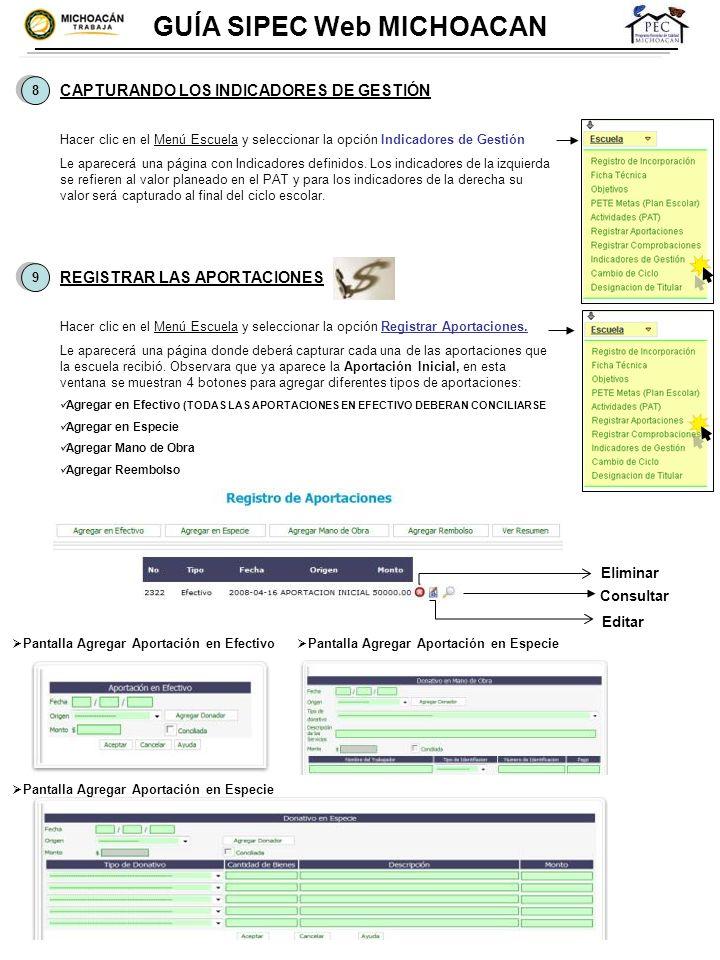 8 8 GUÍA SIPEC Web MICHOACAN CAPTURANDO LOS INDICADORES DE GESTIÓN Hacer clic en el Menú Escuela y seleccionar la opción Indicadores de Gestión Le apa