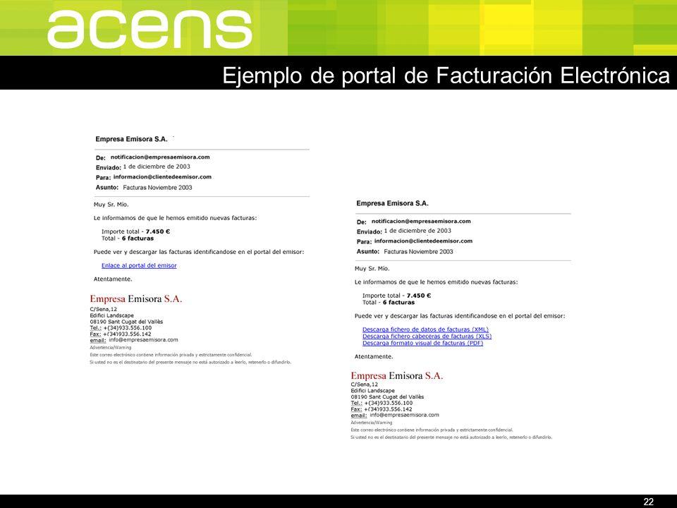 22 Ejemplo de portal de Facturación Electrónica