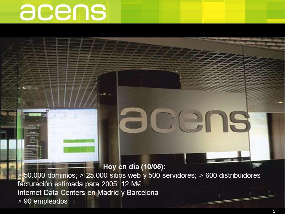 5 Hoy en día (10/05): > 50.000 dominios; > 25.000 sitios web y 500 servidores; > 600 distribuidores facturación estimada para 2005: 12 M Internet Data Centers en Madrid y Barcelona > 90 empleados