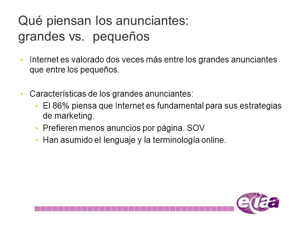 Internet es valorado dos veces más entre los grandes anunciantes que entre los pequeños. Características de los grandes anunciantes: El 86% piensa que