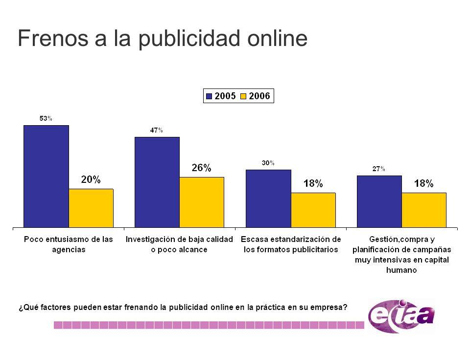Frenos a la publicidad online ¿Qué factores pueden estar frenando la publicidad online en la práctica en su empresa?