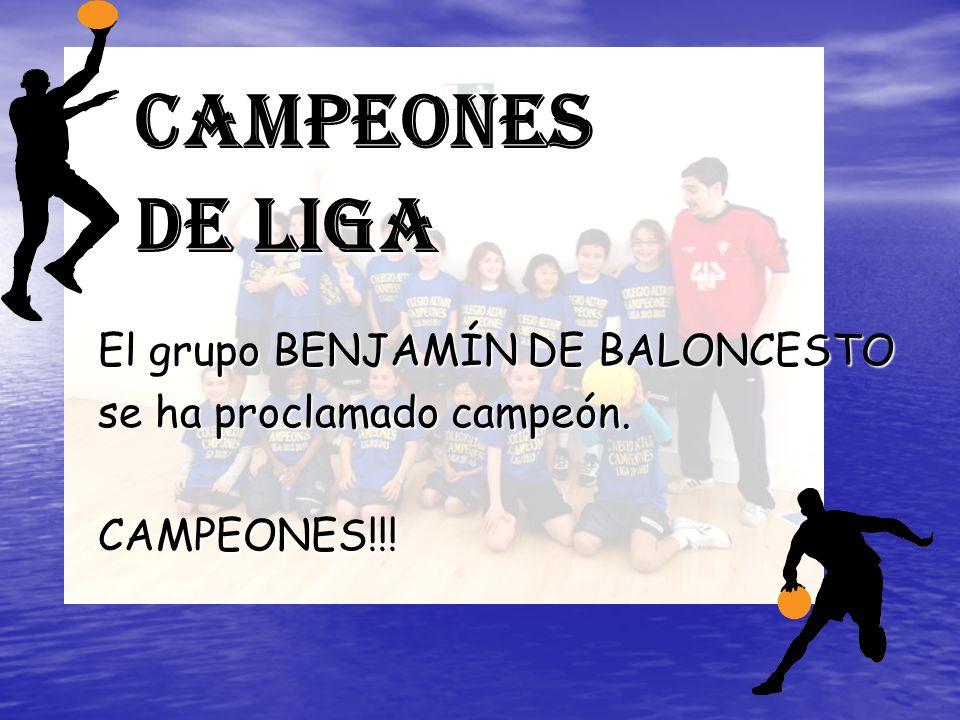 Campeones de Liga El grupo BENJAMÍN DE BALONCESTO se ha proclamado campeón. CAMPEONES!!!