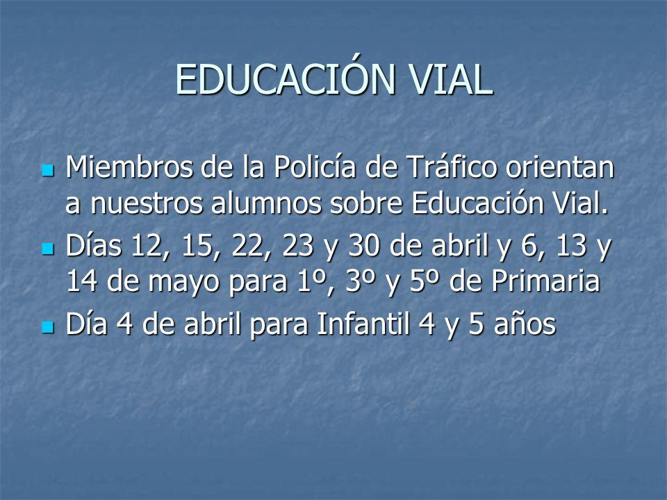 EDUCACIÓN VIAL Miembros de la Policía de Tráfico orientan a nuestros alumnos sobre Educación Vial. Miembros de la Policía de Tráfico orientan a nuestr