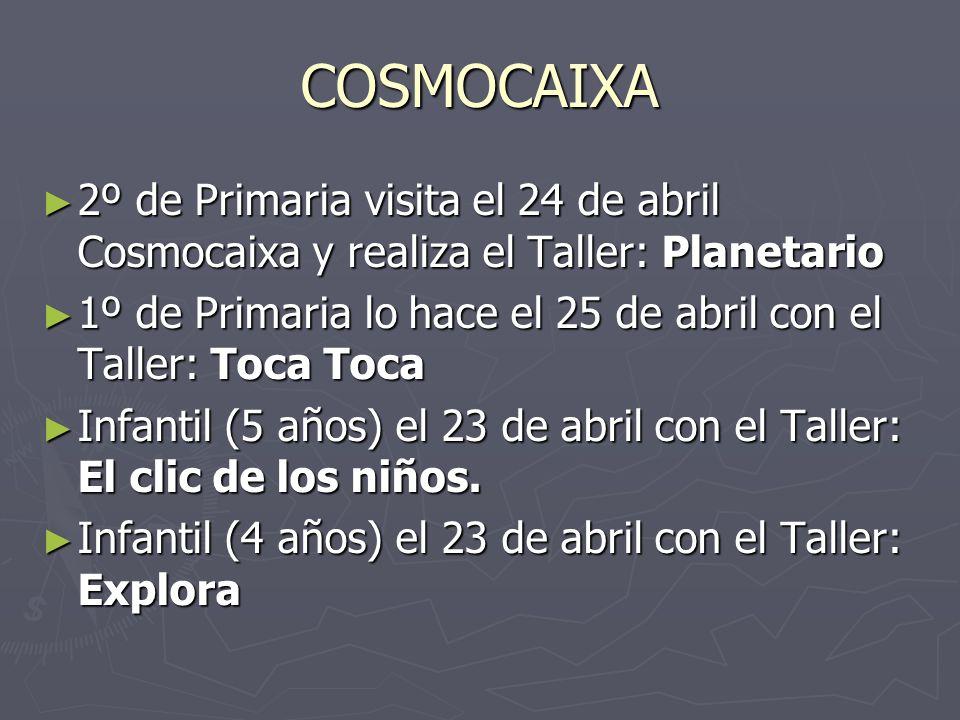 COSMOCAIXA 2º de Primaria visita el 24 de abril Cosmocaixa y realiza el Taller: Planetario 2º de Primaria visita el 24 de abril Cosmocaixa y realiza el Taller: Planetario 1º de Primaria lo hace el 25 de abril con el Taller: Toca Toca 1º de Primaria lo hace el 25 de abril con el Taller: Toca Toca Infantil (5 años) el 23 de abril con el Taller: El clic de los niños.