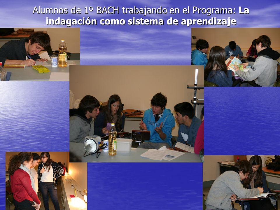 Alumnos de 1º BACH trabajando en el Programa: La indagación como sistema de aprendizaje