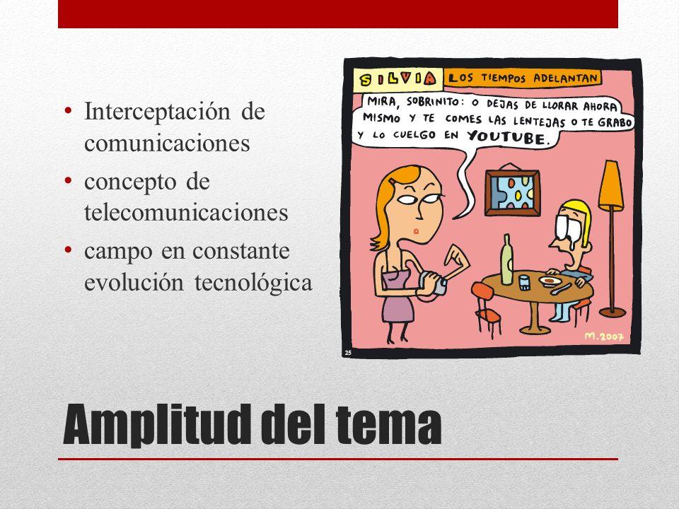 Amplitud del tema Interceptación de comunicaciones concepto de telecomunicaciones campo en constante evolución tecnológica