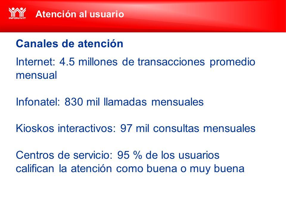 Atención al usuario Canales de atención Internet: 4.5 millones de transacciones promedio mensual Infonatel: 830 mil llamadas mensuales Kioskos interac