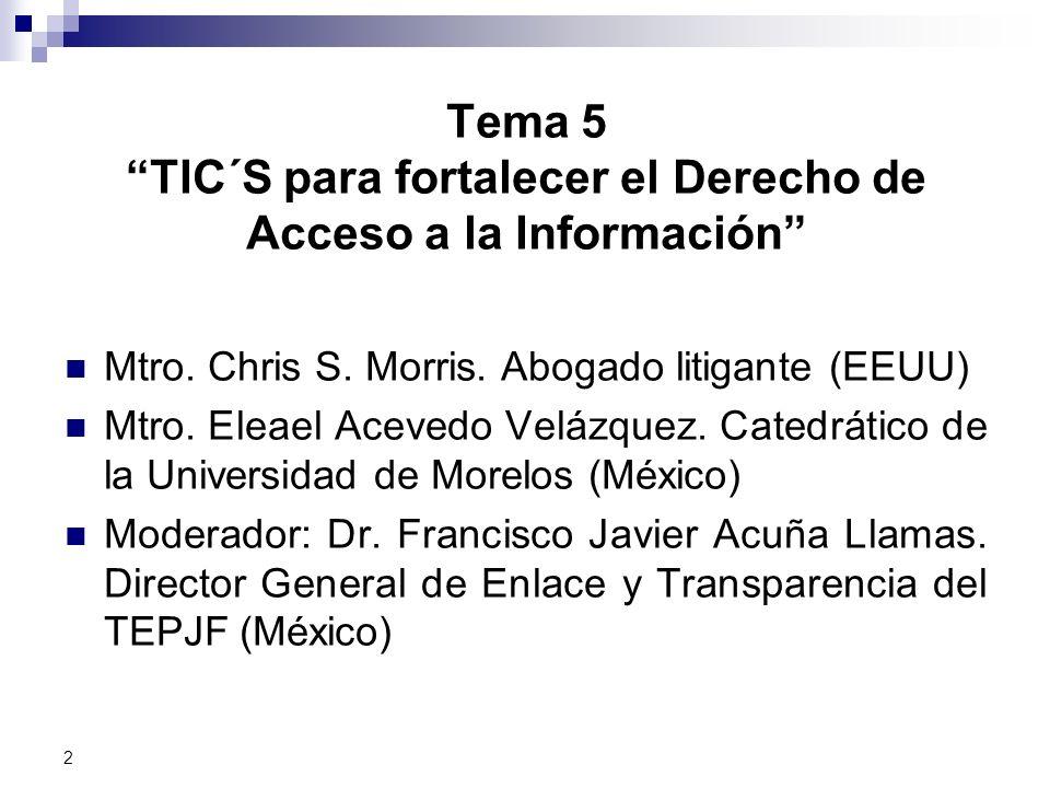 Tema 5 TIC´S para fortalecer el Derecho de Acceso a la Información Mtro.