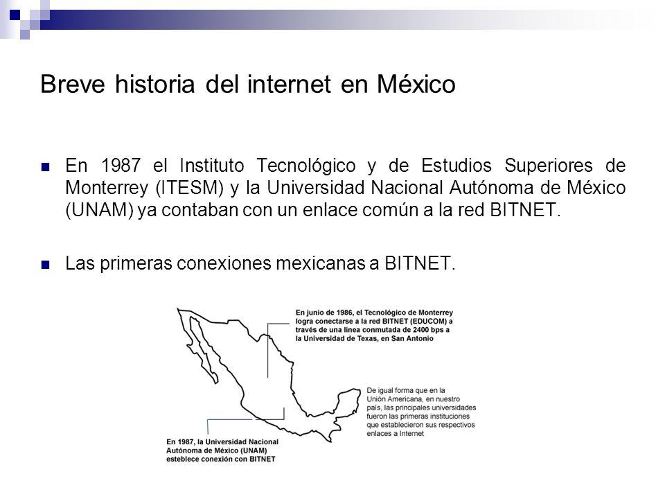 En 1987 el Instituto Tecnológico y de Estudios Superiores de Monterrey (ITESM) y la Universidad Nacional Autónoma de México (UNAM) ya contaban con un enlace común a la red BITNET.