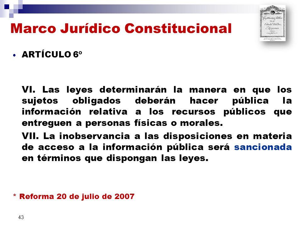 Marco Jurídico Constitucional ARTÍCULO 6º VI.