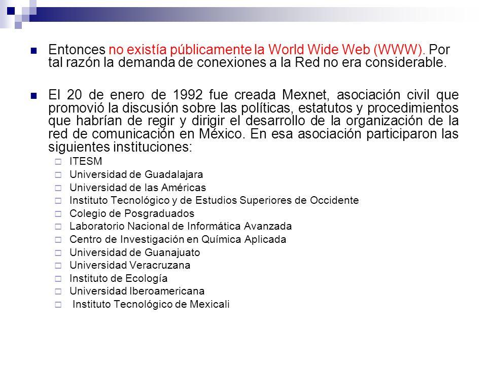 Entonces no existía públicamente la World Wide Web (WWW).