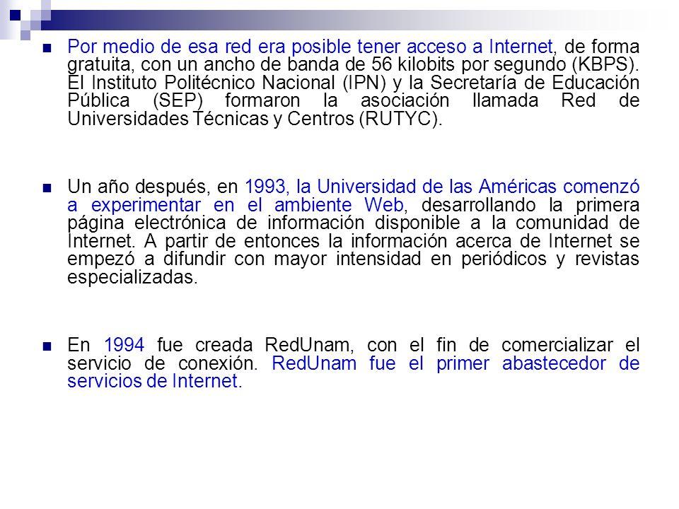 Por medio de esa red era posible tener acceso a Internet, de forma gratuita, con un ancho de banda de 56 kilobits por segundo (KBPS).