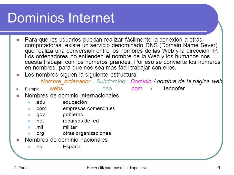 F. PariasHacer clik para pasar la diapositiva 4 Dominios Internet Para que los usuarios puedan realizar fácilmente la conexión a otras computadoras, e