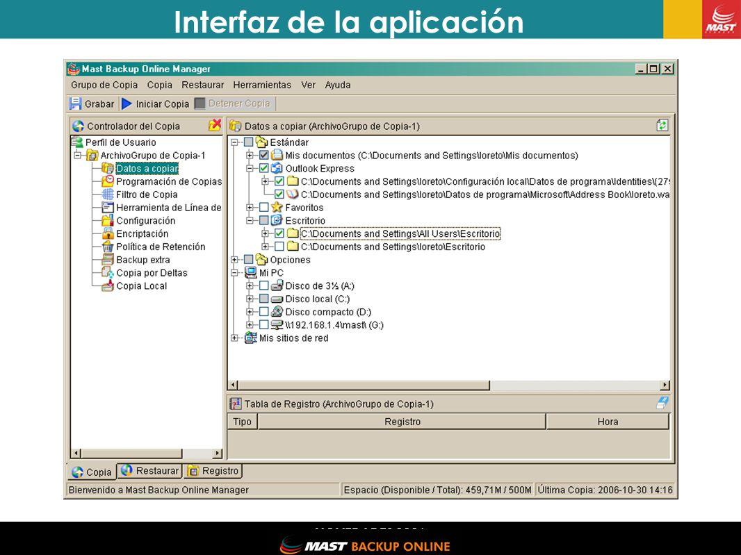 NOVEDADES 2006 Interfaz de la aplicación