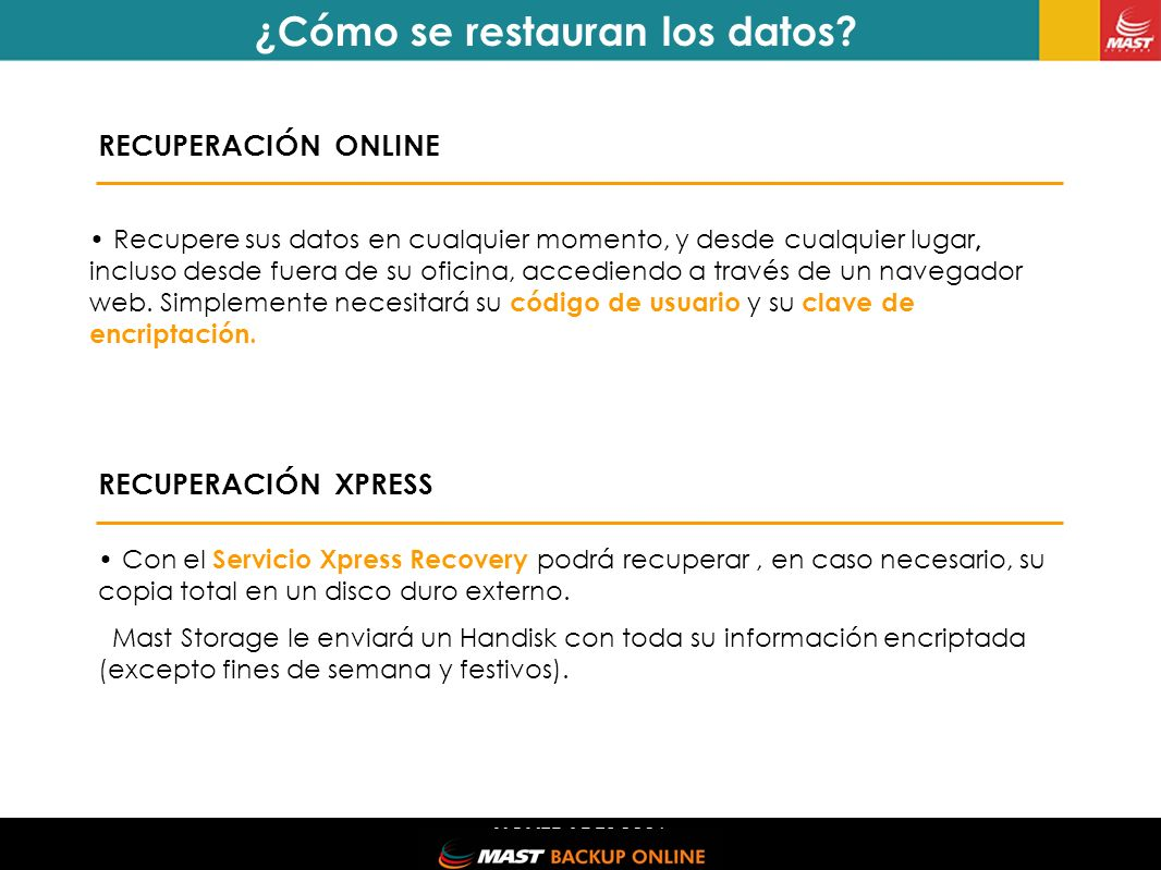 NOVEDADES 2006 ¿Por qué MAST Backup Online.10 VENTAJAS 1.