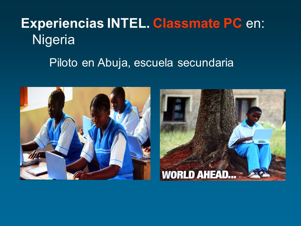 Experiencias INTEL. Classmate PC en: Nigeria Piloto en Abuja, escuela secundaria