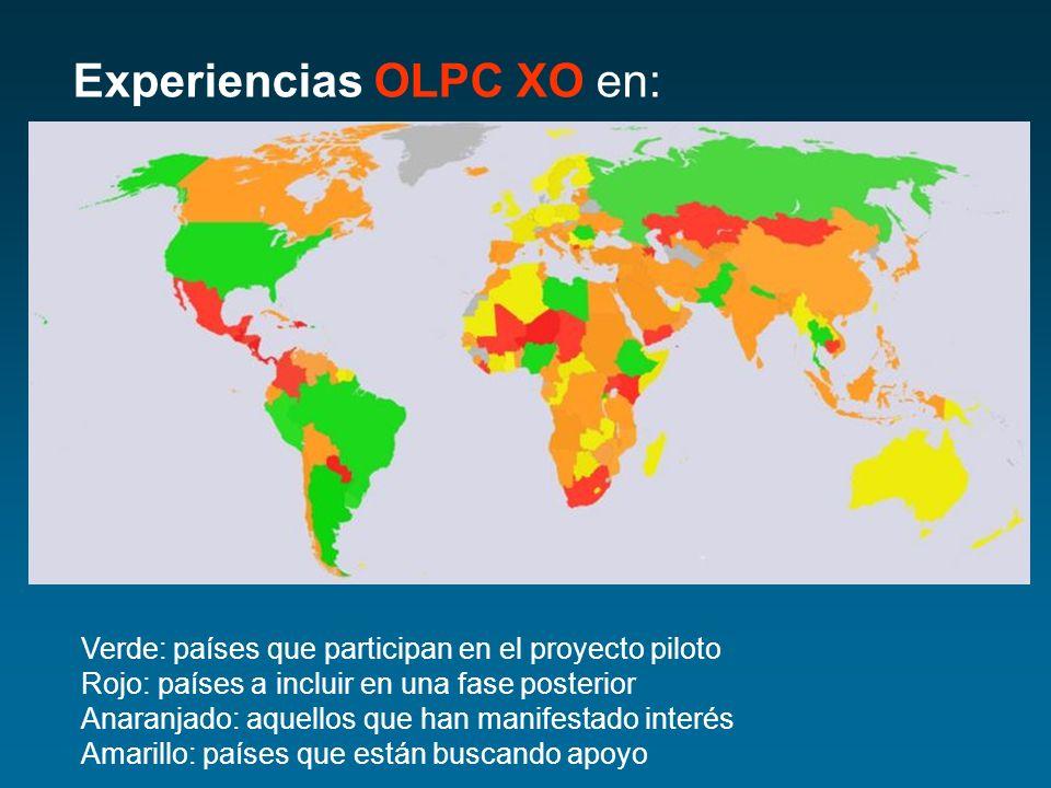 Experiencias OLPC XO en: Verde: países que participan en el proyecto piloto Rojo: países a incluir en una fase posterior Anaranjado: aquellos que han