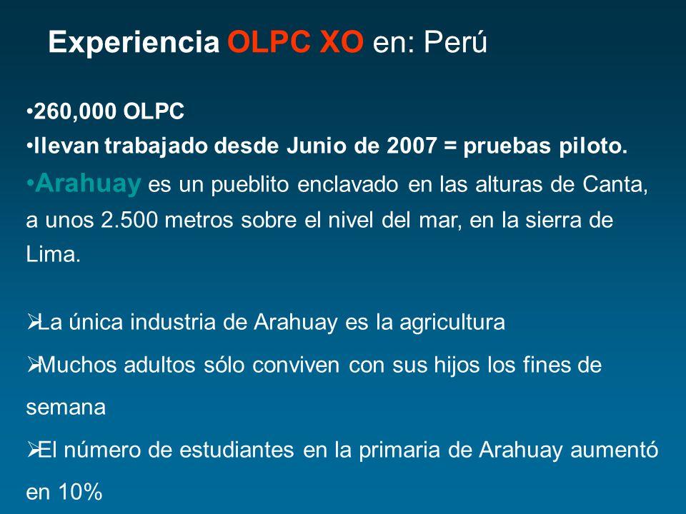 Experiencia OLPC XO en: Perú 260,000 OLPC llevan trabajado desde Junio de 2007 = pruebas piloto. Arahuay es un pueblito enclavado en las alturas de Ca