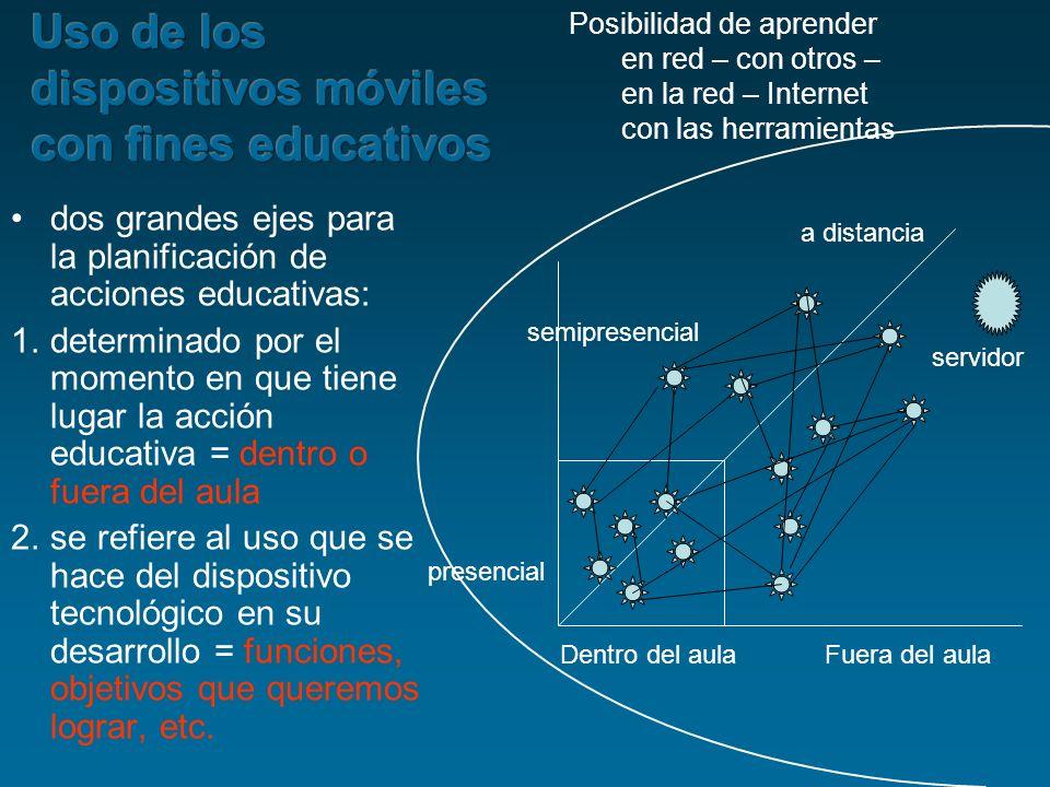 dos grandes ejes para la planificación de acciones educativas: 1.determinado por el momento en que tiene lugar la acción educativa = dentro o fuera de