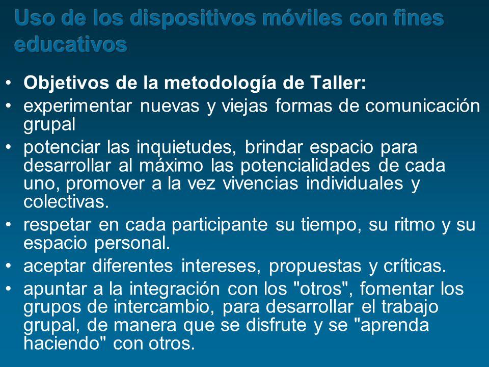 Objetivos de la metodología de Taller: experimentar nuevas y viejas formas de comunicación grupal potenciar las inquietudes, brindar espacio para desa
