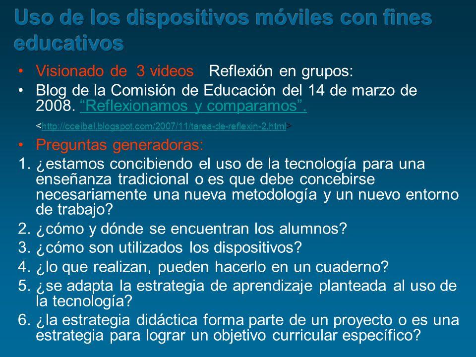 Visionado de 3 videos Reflexión en grupos: Blog de la Comisión de Educación del 14 de marzo de 2008. Reflexionamos y comparamos. Reflexionamos y compa