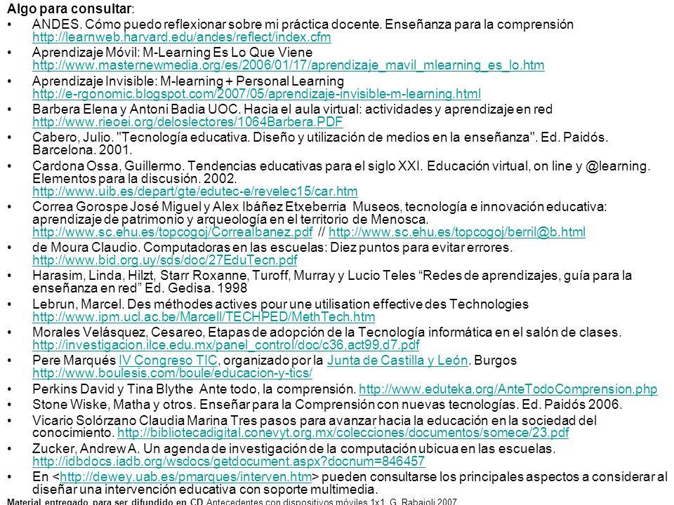 Algo para consultar: ANDES. Cómo puedo reflexionar sobre mi práctica docente. Enseñanza para la comprensión http://learnweb.harvard.edu/andes/reflect/