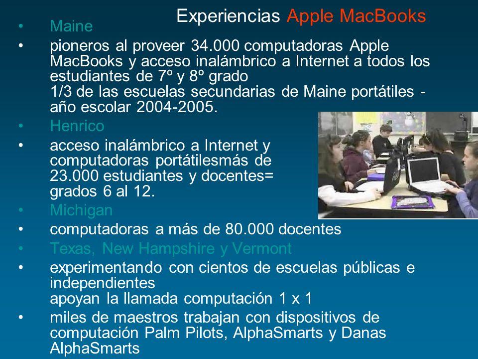 Maine pioneros al proveer 34.000 computadoras Apple MacBooks y acceso inalámbrico a Internet a todos los estudiantes de 7º y 8º grado 1/3 de las escue