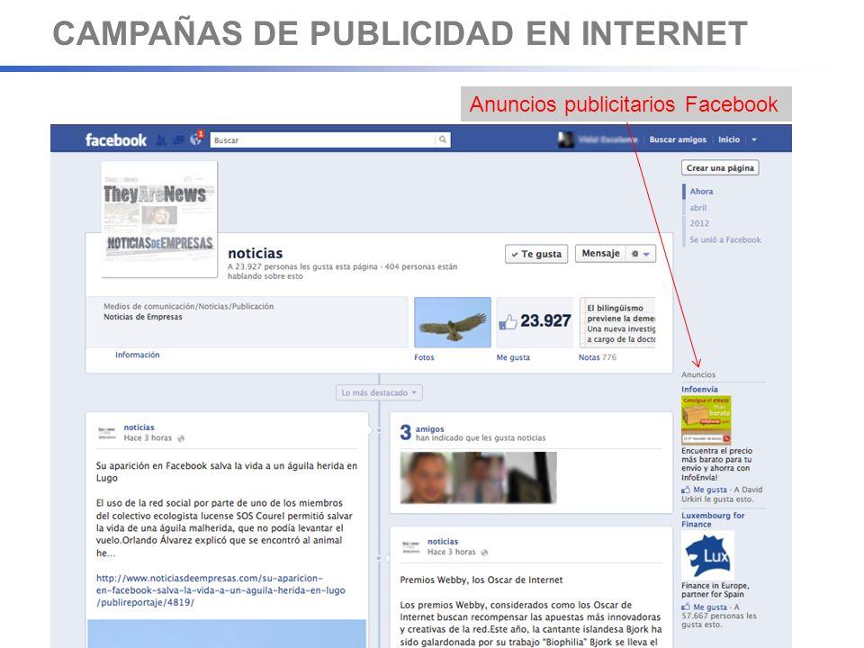 CAMPAÑAS DE PUBLICIDAD EN INTERNET Anuncios publicitarios Facebook