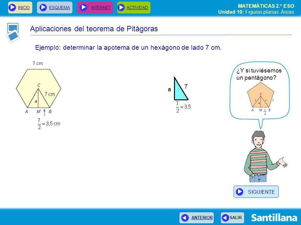 INICIOESQUEMA INTERNETACTIVIDAD MATEMÁTICAS 2.º ESO Unidad 10: Figuras planas. Áreas ANTERIOR SALIR Aplicaciones del teorema de Pitágoras Ejemplo: det