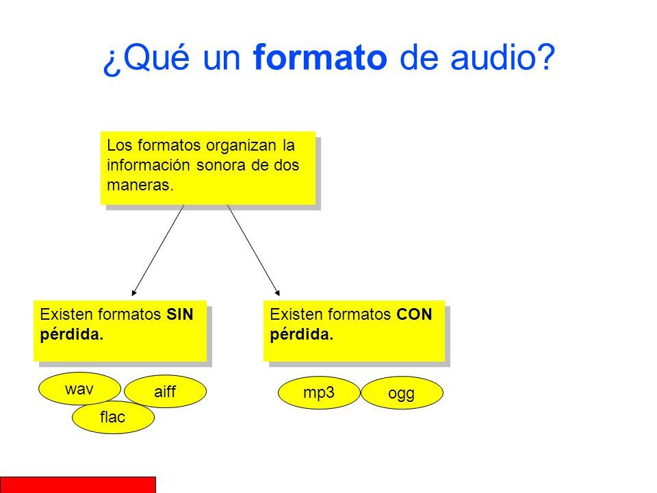 ¿Qué un formato de audio? Existen formatos SIN pérdida. Existen formatos CON pérdida. Los formatos organizan la información sonora de dos maneras. aif
