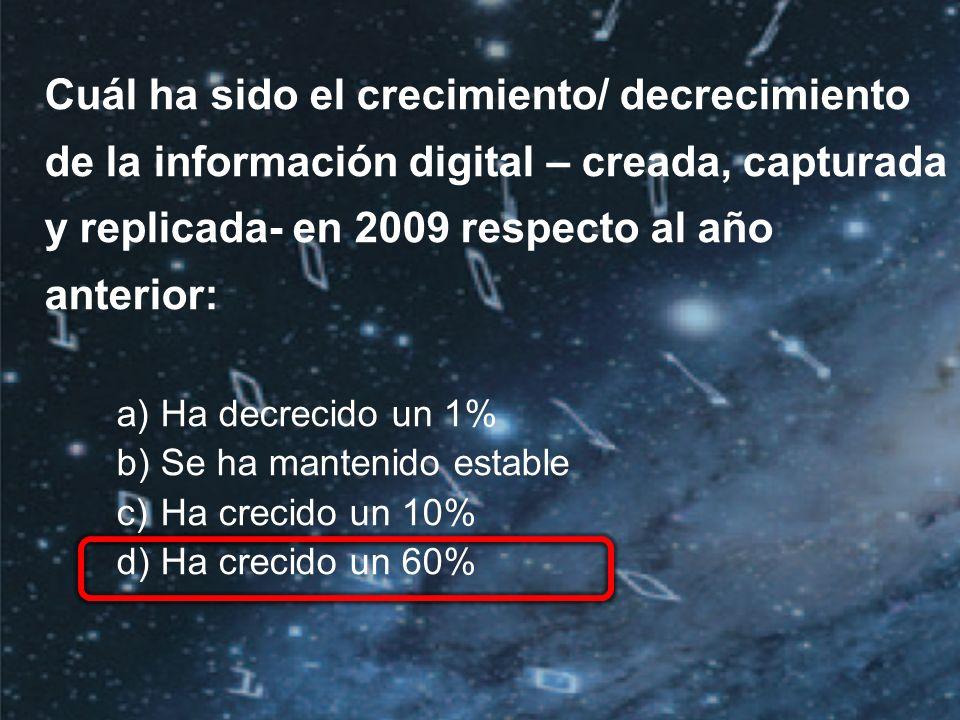 ©2010 IDC | 2 Cuál ha sido el crecimiento/ decrecimiento de la información digital – creada, capturada y replicada- en 2009 respecto al año anterior: a)Ha decrecido un 1% b)Se ha mantenido estable c)Ha crecido un 10% d)Ha crecido un 60%
