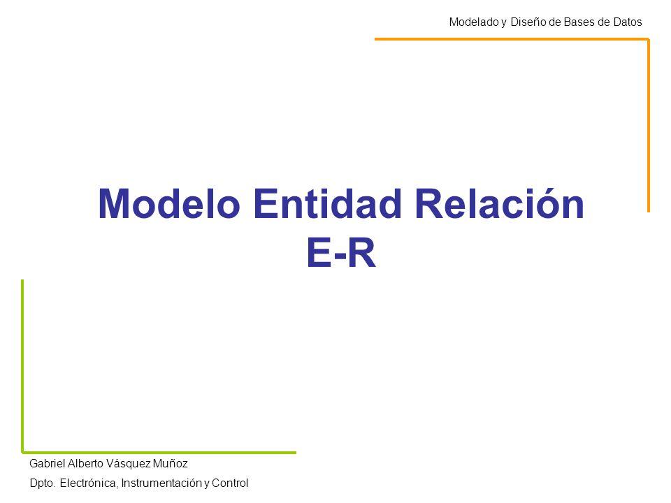 Modelo Entidad Relación E-R Modelado y Diseño de Bases de Datos Gabriel Alberto Vásquez Muñoz Dpto. Electrónica, Instrumentación y Control