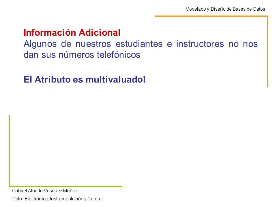 Modelado y Diseño de Bases de Datos Gabriel Alberto Vásquez Muñoz Dpto. Electrónica, Instrumentación y Control Información Adicional Algunos de nuestr