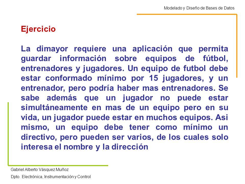 Modelado y Diseño de Bases de Datos Gabriel Alberto Vásquez Muñoz Dpto. Electrónica, Instrumentación y Control Ejercicio La dimayor requiere una aplic