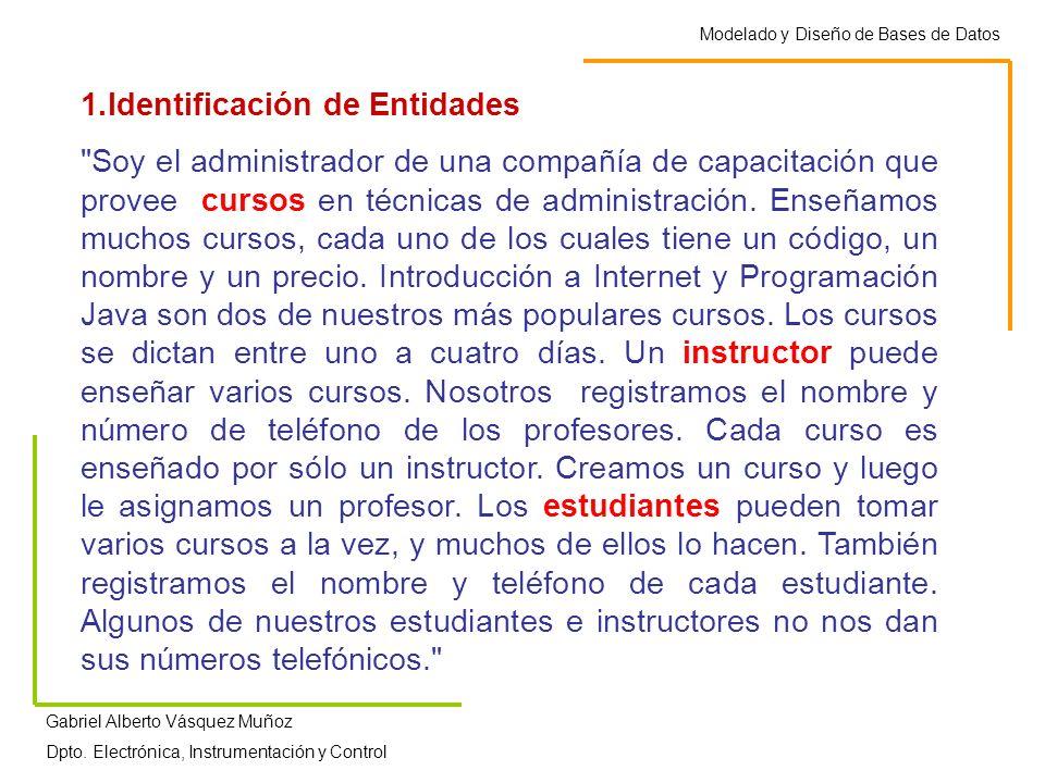 Modelado y Diseño de Bases de Datos Gabriel Alberto Vásquez Muñoz Dpto. Electrónica, Instrumentación y Control 1.Identificación de Entidades
