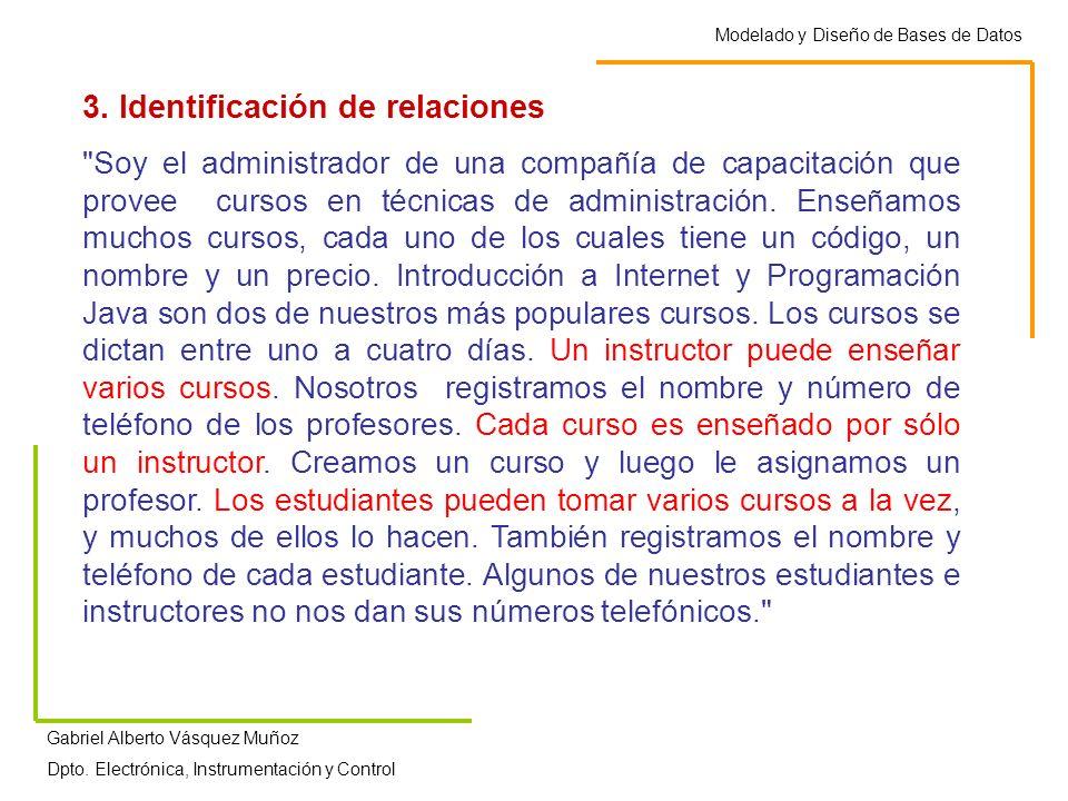 Modelado y Diseño de Bases de Datos Gabriel Alberto Vásquez Muñoz Dpto. Electrónica, Instrumentación y Control 3. Identificación de relaciones
