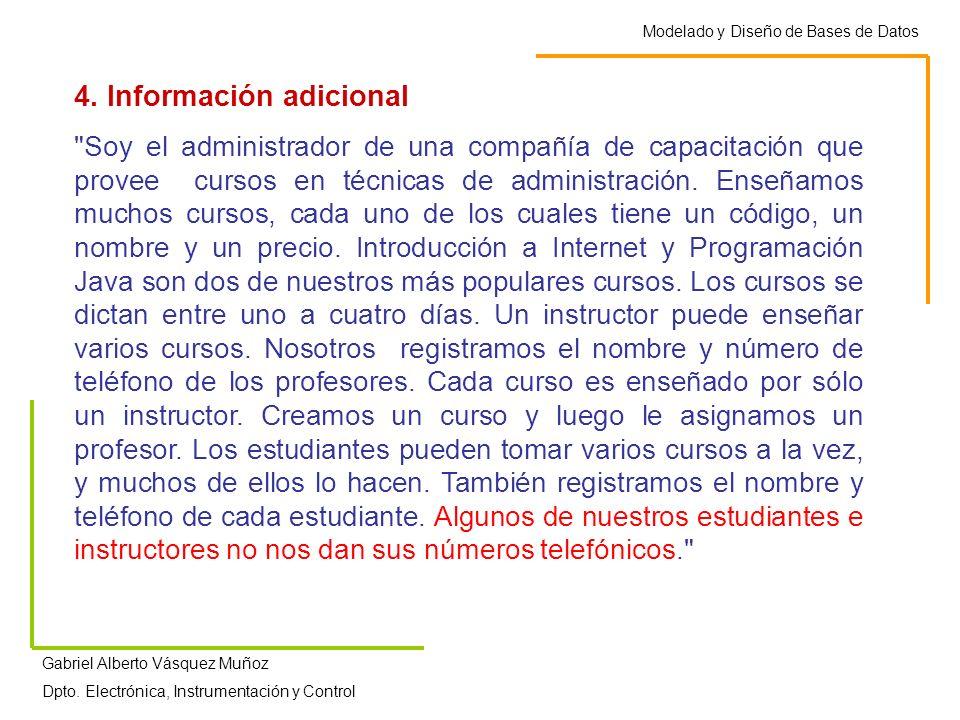 Modelado y Diseño de Bases de Datos Gabriel Alberto Vásquez Muñoz Dpto. Electrónica, Instrumentación y Control 4. Información adicional