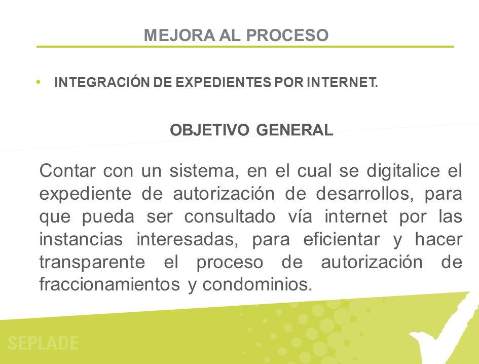 MEJORA AL PROCESO INTEGRACIÓN DE EXPEDIENTES POR INTERNET. Contar con un sistema, en el cual se digitalice el expediente de autorización de desarrollo