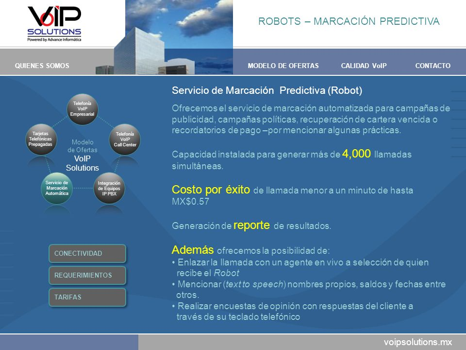 voipsolutions.mx QUIENES SOMOSMODELO DE OFERTASCALIDAD VoIPCONTACTO Servicio de Marcación Predictiva (Robot) Ofrecemos el servicio de marcación automa