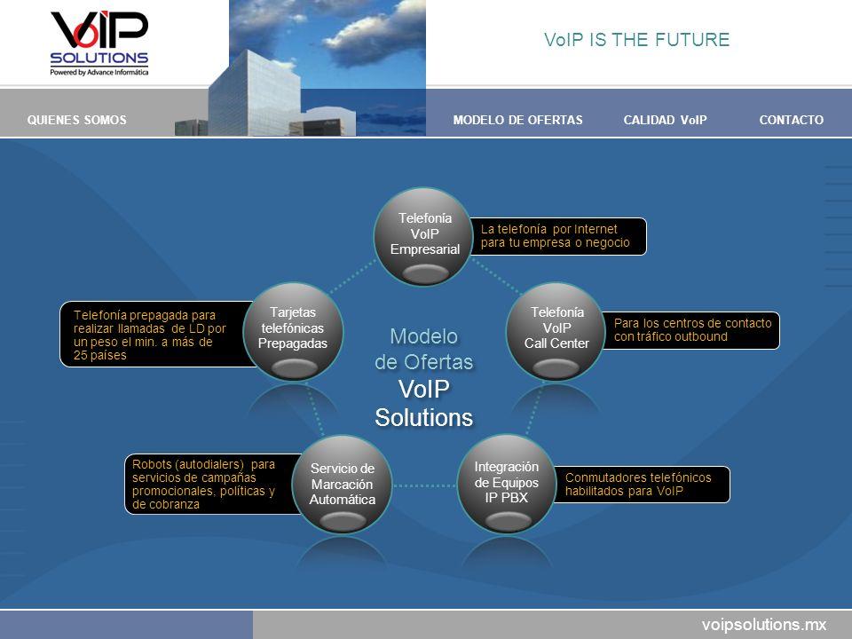 voipsolutions.mx QUIENES SOMOSMODELO DE OFERTASCALIDAD VoIPCONTACTO Para los centros de contacto con tráfico outbound Conmutadores telefónicos habilit