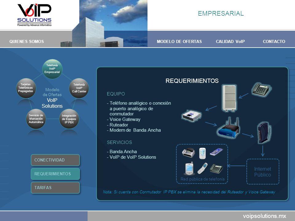 voipsolutions.mx QUIENES SOMOSMODELO DE OFERTASCALIDAD VoIPCONTACTO REQUERIMIENTOS EQUIPO -Teléfono analógico o conexión a puerto analógico de conmuta